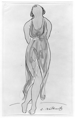 Abraham Walkowitz (American, born Russia, 1878-1965). <em>Isadora Duncan #14</em>. Watercolor, pen, ink, pencil on paper, 14 x 8 1/2 in. (35.6 x 21.6 cm). Brooklyn Museum, Gift of the artist, 39.159 (Photo: Brooklyn Museum, 39.159_bw.jpg)