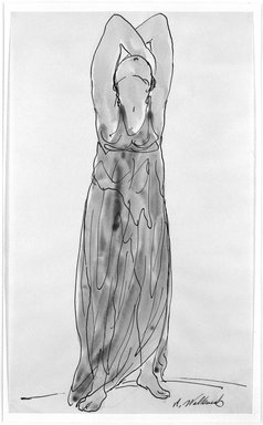 Abraham Walkowitz (American, born Russia, 1878-1965). <em>Isadora Duncan #15</em>. Watercolor, pen, ink, pencil on paper, 14 x 8 1/2 in. (35.6 x 21.6 cm). Brooklyn Museum, Gift of the artist, 39.160 (Photo: Brooklyn Museum, 39.160_bw.jpg)