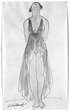 Abraham Walkowitz (American, born Russia, 1878-1965). <em>Isadora Duncan #17</em>. Watercolor, pen, ink, pencil on paper, 14 x 8 1/2 in. (35.6 x 21.6 cm). Brooklyn Museum, Gift of the artist, 39.162 (Photo: Brooklyn Museum, 39.162_bw.jpg)