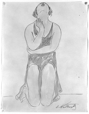 Abraham Walkowitz (American, born Russia, 1878-1965). <em>Isadora Duncan #20</em>. Watercolor, pen, ink, pencil on paper, 11 x 8 3/8 in. (27.9 x 21.3 cm). Brooklyn Museum, Gift of the artist, 39.165 (Photo: Brooklyn Museum, 39.165_bw.jpg)