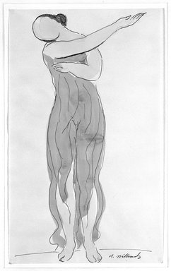 Abraham Walkowitz (American, born Russia, 1878-1965). <em>Isadora Duncan #21</em>. Watercolor, pen, ink on paper, 14 x 8 1/2 in. (35.6 x 21.6 cm). Brooklyn Museum, Gift of the artist, 39.166 (Photo: Brooklyn Museum, 39.166_bw.jpg)