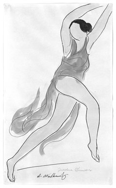 Abraham Walkowitz (American, born Russia, 1878-1965). <em>Isadora Duncan #23</em>. Watercolor, pen, ink, pencil on paper, 14 x 8 1/2 in. (35.6 x 21.6 cm). Brooklyn Museum, Gift of the artist, 39.168 (Photo: Brooklyn Museum, 39.168_bw.jpg)
