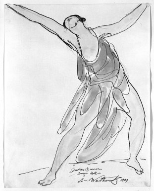 Abraham Walkowitz (American, born Russia, 1878-1965). <em>Isadora Duncan #24</em>, 1909. Watercolor, pen, ink, pencil on paper, 9 7/8 x 7 7/8 in. (25.1 x 20 cm). Brooklyn Museum, Gift of the artist, 39.169 (Photo: Brooklyn Museum, 39.169_bw.jpg)