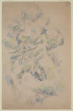 Paul Cézanne (French, 1839-1906). <em>Study of Trees and Rocks; Study of Trees (verso)</em>, 1890-1895. Graphite and watercolor on wove paper (recto); graphite (verso)