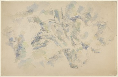 Paul Cézanne (French, 1839-1906). <em>Study of Trees and Rocks; Study of Trees (verso)</em>, 1890-1895. Graphite and watercolor on wove paper (recto); graphite (verso) , Sheet: 19 1/2 x 12 5/8 in. (49.5 x 32.1 cm). Brooklyn Museum, Museum Collection Fund, 39.16a-b (Photo: , 39.16a-b_recto_PS9.jpg)
