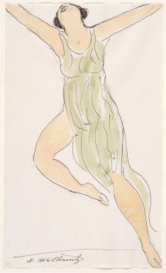 Abraham Walkowitz (American, born Russia, 1878-1965). <em>Isadora Duncan #29</em>, ca. 1915. Watercolor and ink over graphite on off-white, medium-weight, moderately textured laid paper, 14 x 18 1/2 in. (35.6 x 47 cm). Brooklyn Museum, Gift of the artist, 39.174 (Photo: Brooklyn Museum, 39.174_SL3.jpg)
