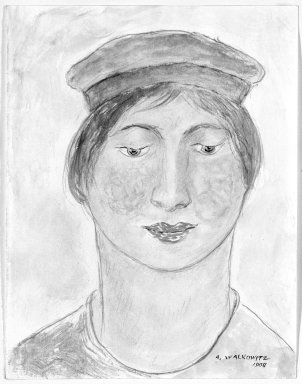 Abraham Walkowitz (American, born Russia, 1878-1965). <em>Woman's Head #2</em>, 1908. Watercolor, pen, ink, pencil on paper, 6 3/4 x 5 1/4 in. (17.1 x 13.3 cm). Brooklyn Museum, Gift of the artist, 39.190 (Photo: Brooklyn Museum, 39.190_bw.jpg)