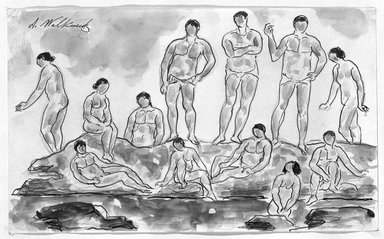 Abraham Walkowitz (American, born Russia, 1878-1965). <em>Bathers #2</em>. Watercolor, pen, ink, pencil on paper, 5 1/2 x 9 in. (14 x 22.9 cm). Brooklyn Museum, Gift of the artist, 39.200 (Photo: Brooklyn Museum, 39.200_bw.jpg)