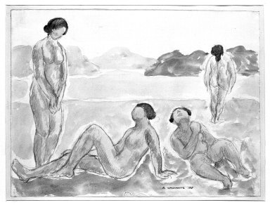 Abraham Walkowitz (American, born Russia, 1878-1965). <em>Bathers #4</em>, 1908. Watercolor, pencil on paper, 9 3/4 x 13 1/8 in. (24.8 x 33.3 cm). Brooklyn Museum, Gift of the artist, 39.202 (Photo: Brooklyn Museum, 39.202_bw.jpg)