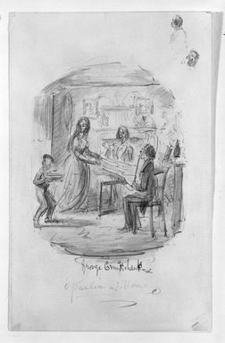 George Cruikshank (British, 1792-1878). <em>Ophelia at Home</em>. Watercolor on paper, 7 1/16 x 4 7/16 in. (17.9 x 11.3 cm). Brooklyn Museum, Museum Collection Fund, 39.21 (Photo: Brooklyn Museum, 39.21_bw.jpg)