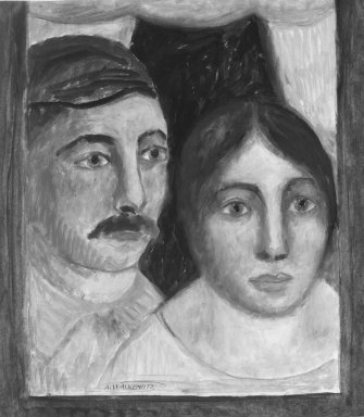 Abraham Walkowitz (American, born Russia, 1878-1965). <em>Man and Wife</em>, ca. 1908. Oil on paper, 17 x 14 15/16 in. (43.2 x 37.9 cm). Brooklyn Museum, Gift of the artist, 39.234 (Photo: Brooklyn Museum, 39.234_bw.jpg)