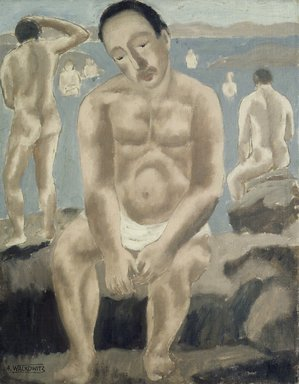 Abraham Walkowitz (American, born Russia, 1878-1965). <em>Rocks and Bathers</em>, n.d. Oil on canvas board, 18 x 14 in. (45.7 x 35.6 cm). Brooklyn Museum, Gift of the artist, 39.237 (Photo: Brooklyn Museum, 39.237_transp3280.jpg)