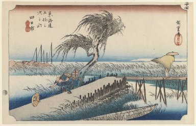Utagawa Hiroshige (Ando) (Japanese, 1797-1858). <em>Yokkaichi: Mie River, from the series Fifty-three Stations of the Tōkaidō Road</em>, ca. 1833-1834. Color woodblock print on paper, 9 7/16 x 14 15/16 in. (23.9 x 37.9 cm). Brooklyn Museum, Gift of Marion Cutter, 39.241 (Photo: Brooklyn Museum, 39.241_IMLS_PS3.jpg)