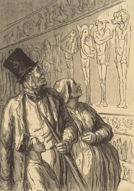"Honoré Daumier (French, 1808-1879). <em>""A l'Exposition Universelle - Section Égyptienne,""</em> 1867; reprinted 1920. Wood engraving on off-white, medium weight, smooth laid paper, Sheet: 14 7/16 x 12 5/8 in. (36.7 x 32.1 cm). Brooklyn Museum, Museum Collection Fund, 39.26 (Photo: Brooklyn Museum, 39.26.jpg)"