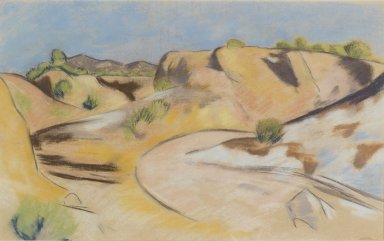 Marsden Hartley (American, 1877-1943). <em>New Mexico</em>, ca. 1918-1919. Pastel on beige laid paper mounted to wood-pulp board, 16 5/16 x 26 7/16 in. (41.5 x 67.2 cm). Brooklyn Museum, Anonymous gift, 39.274 (Photo: Brooklyn Museum, 39.274_PS1.jpg)