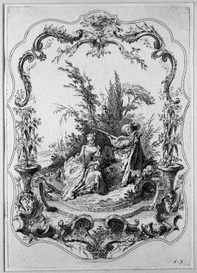 Jacques Gabriel Huguier (French, 1695-1772). <em>La Danse Bachique</em>. Etching, Sheet: 19 3/4 x 14 3/8 in. (50.2 x 36.5 cm). Brooklyn Museum, 39.28.1 (Photo: Brooklyn Museum, 39.28.1_acetate_bw.jpg)