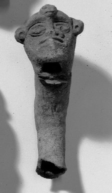 <em>Crudely Carved Human Head</em>. Grayish pottery Brooklyn Museum, Museum Expedition 1938, Dick S. Ramsay Fund, 39.316. Creative Commons-BY (Photo: Brooklyn Museum, 39.316_acetate_bw.jpg)