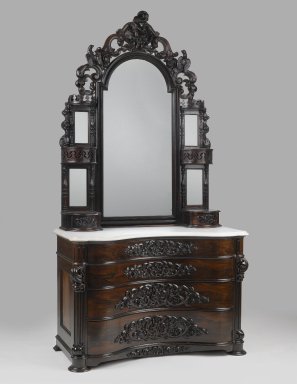 John Henry Belter (American, born Germany, 1804-1863). <em>Dresser with Mirror</em>, ca. 1855. Laminated rosewood, marble, mirrored glass, 95 x 49 1/2 x 25 in. (241.3 x 125.7 x 63.5 cm). Brooklyn Museum, Gift of Mrs. Ernest Vietor, 39.31a-c. Creative Commons-BY (Photo: Brooklyn Museum, 39.31a-c_PS6.jpg)