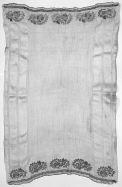 <em>Small Towel</em>, 19th century. Textile, 45 x 71 in. (114.3 x 180.3 cm). Brooklyn Museum, Gift of Florence Harvey Linden, 39.348. Creative Commons-BY (Photo: Brooklyn Museum, 39.348_bw.jpg)