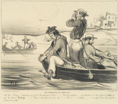 Honoré Daumier (French, 1808-1879). <em>An Encounter in Open Water (Une Rencontre en pleine eau)</em>, June 22, 1843. Lithograph on wove paper, Sheet: 10 5/8 x 13 3/4 in. (27 x 34.9 cm). Brooklyn Museum, Anonymous gift, 39.35 (Photo: Brooklyn Museum, 39.35.jpg)