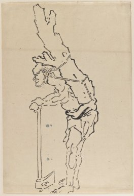 Katsushika Hokusai (Japanese, 1760-1849). <em>Drawing of Man Resting on Axe and Carrying Part of Tree Trunk on His Back</em>, 1760-1849. Ink on paper, 9 15/16 x 14 3/8 in. (25.2 x 36.5 cm). Brooklyn Museum, By exchange, 39.353 (Photo: Brooklyn Museum, 39.353_IMLS_PS3.jpg)