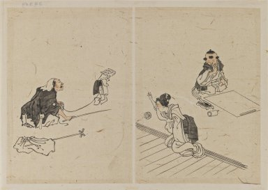 Katsushika Hokusai (Japanese, 1760-1849). <em>Drawings</em>, 1615-1867. Ink with reddish wash on cream colored paper, 8 1/8 x 11 7/16 in. (20.7 x 29 cm). Brooklyn Museum, By exchange, 39.359 (Photo: Brooklyn Museum, 39.359_IMLS_PS3.jpg)