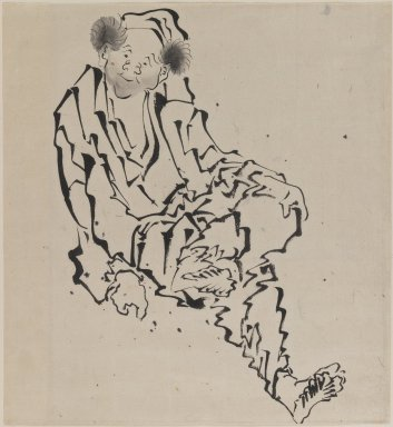 Katsushika Hokusai (Japanese, 1760-1849). <em>Drawing of Man Seated with Left Leg Resting over Right Knee</em>, 1760-1849. Ink on paper, 10 9/16 x 9 11/16 in. (26.8 x 24.6 cm). Brooklyn Museum, By exchange, 39.367 (Photo: Brooklyn Museum, 39.367_IMLS_PS3.jpg)