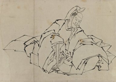 Katsushika Hokusai (Japanese, 1760-1849). <em>Drawing of Seated Nobleman in Full Costume</em>, 1760-1849. Ink on paper, 14 9/16 x 10 1/16 in. (37 x 25.5 cm). Brooklyn Museum, By exchange, 39.369 (Photo: Brooklyn Museum, 39.369_IMLS_PS3.jpg)