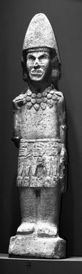 Huastec. <em>Warrior Figure</em>, ca. 1440-1521. Sandstone, 65 3/16 x 14 3/4 x 7 1/2 in. (165.6 x 37.5 x 19.1 cm). Brooklyn Museum, Frank L. Babbott Fund, 39.371. Creative Commons-BY (Photo: Brooklyn Museum, 39.371_bw.jpg)