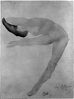 Attributed to Auguste Rodin (French, 1840-1917). <em>Nude Dancer Facing Left</em>. Drawing in pencil with watercolor wash on laid paper, Sheet: 12 3/8 x 9 7/16 in. (31.5 x 23.9 cm). Brooklyn Museum, Henry L. Batterman Fund, 39.373 (Photo: Brooklyn Museum, 39.373_bw.jpg)