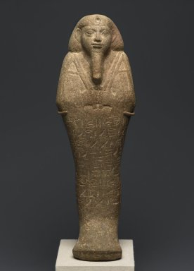 Nubian. <em>Shabty of Taharqa</em>, ca. 690-664 B.C.E. Ankerite, 15 1/2 x 5 1/4 x 3 1/4 in. (39.4 x 13.3 x 8.3 cm). Brooklyn Museum, By exchange, 39.3. Creative Commons-BY (Photo: Brooklyn Museum, 39.3_front_PS2.jpg)