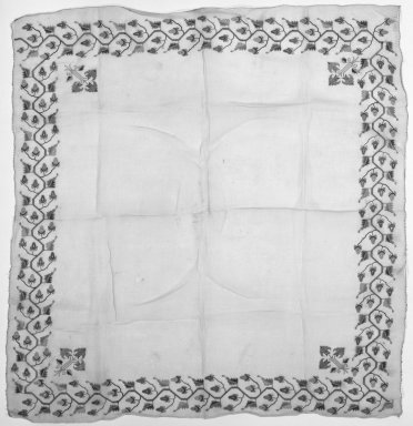<em>Textile</em>, 19th century. Very fine cotton, hand woven, 13 3/4 x 13 3/4 in. (35 x 35 cm). Brooklyn Museum, Gift of Florence Harvey Linder, 39.410. Creative Commons-BY (Photo: Brooklyn Museum, 39.410_bw.jpg)