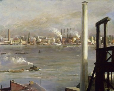John Koch (American, 1909-1978). <em>East River</em>, ca. 1930. Oil on panel, 15 7/8 x 19 7/8 in. (40.3 x 50.5 cm). Brooklyn Museum, Gift of Friends of Southern Vermont Artists, Inc., 39.417. © artist or artist's estate (Photo: Brooklyn Museum, 39.417.jpg)