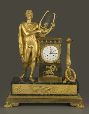 (internal clockworks) Henry Voisin (French, active early 19th century). <em>Clock</em>, ca. 1800. Gilded bronze, marble, enamel, 33 1/2 x 26 x 9 1/4 in. (8.5 x 66.0 x 23.2 cm). Brooklyn Museum, Gift of Mrs. Frederick A. Yenni, 39.438a. Creative Commons-BY (Photo: Brooklyn Museum, 39.438a_front_PS6.jpg)