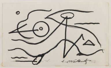 Abraham Walkowitz (American, born Russia, 1878-1965). <em>Fish Design</em>, 1913. Ink over graphite on paper, Sheet (mount): 10 7/8 x 8 1/2 in. (27.6 x 21.6 cm). Brooklyn Museum, Gift of the artist, 39.472b (Photo: Brooklyn Museum, 39.472b_IMLS_PS3.jpg)