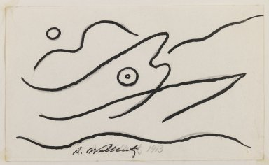 Abraham Walkowitz (American, born Russia, 1878-1965). <em>Fish Design</em>, 1913. Ink over graphite on paper, Sheet (mount): 10 7/8 x 8 1/2 in. (27.6 x 21.6 cm). Brooklyn Museum, Gift of the artist, 39.472c (Photo: Brooklyn Museum, 39.472c_IMLS_PS3.jpg)