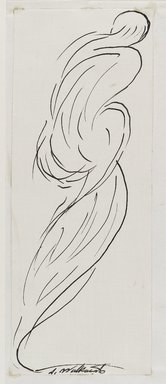 Abraham Walkowitz (American, born Russia, 1878-1965). <em>Dancing Figure (Isadora Duncan)</em>, n.d. Black ink and graphite on cream, medium-weight, moderately textured paper, Sheet (mount): 8 1/2 x 10 7/8 in. (21.6 x 27.6 cm). Brooklyn Museum, Gift of the artist, 39.473a (Photo: Brooklyn Museum, 39.473a_PS6.jpg)