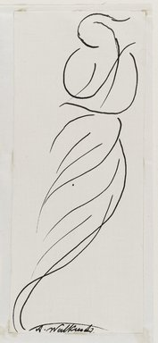 Abraham Walkowitz (American, born Russia, 1878-1965). <em>Dancing Figure (Isadora Duncan)</em>, n.d. Black ink and graphite on cream, medium-weight, moderately textured paper, Sheet (mount): 8 1/2 x 10 7/8 in. (21.6 x 27.6 cm). Brooklyn Museum, Gift of the artist, 39.473c (Photo: Brooklyn Museum, 39.473c_PS6.jpg)