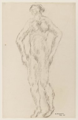 Abraham Walkowitz (American, born Russia, 1878-1965). <em>Nude Standing with Hands on Hips</em>, 1906. Charcoal on paper, Sheet: 12 1/2 x 8 in. (31.8 x 20.3 cm). Brooklyn Museum, Gift of the artist, 39.478 (Photo: Brooklyn Museum, 39.478_IMLS_PS3.jpg)