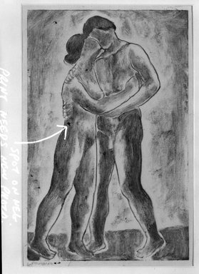 Abraham Walkowitz (American, born Russia, 1878-1965). <em>The Kiss</em>, 1909. Monotype in sepia Brooklyn Museum, Gift of the artist, 39.506 (Photo: Brooklyn Museum, 39.506_bw.jpg)