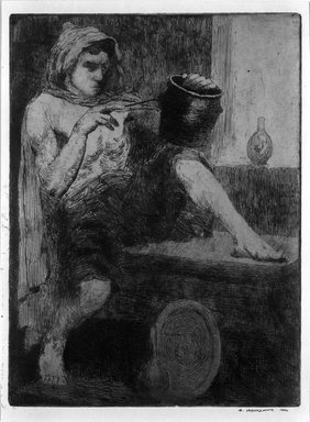 Abraham Walkowitz (American, born Russia, 1878-1965). <em>The Potter</em>, 1900. Etching Brooklyn Museum, Gift of the artist, 39.507 (Photo: Brooklyn Museum, 39.507_bw.jpg)