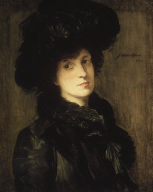 Julian Alden Weir (American, 1852-1919). <em>Girl in Black</em>, 1910. Oil on canvas, 25 5/8 x 20 5/16 in. (65.1 x 51.6 cm). Brooklyn Museum, Gift of Frank L. Babbott, 39.52 (Photo: Brooklyn Museum, 39.52.jpg)