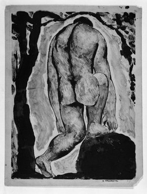 Abraham Walkowitz (American, born Russia, 1878-1965). <em>Nude Figure</em>, 1908. Monotype in brown Brooklyn Museum, Gift of the artist, 39.521 (Photo: Brooklyn Museum, 39.521_bw.jpg)