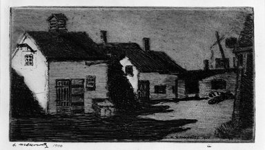 Abraham Walkowitz (American, born Russia, 1878-1965). <em>Houses</em>, 1900. Etching Brooklyn Museum, Gift of the artist, 39.525 (Photo: Brooklyn Museum, 39.525_bw.jpg)