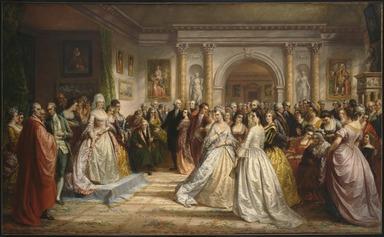 Daniel Huntington (American, 1816-1906). <em>The Republican Court (Lady Washington's Reception Day)</em>, 1861. Oil on canvas, 66 x 109 1/16 in. (167.6 x 277 cm). Brooklyn Museum, Gift of the Crescent-Hamilton Athletic Club, 39.536.1 (Photo: , 39.536.1_SL3.jpg)