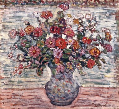 Maurice Brazil Prendergast (American, 1858-1924). <em>Flowers in a Vase (Zinnias)</em>, ca. 1910-1913. Oil on canvas, 23 1/4 x 25 3/16 in. (59.1 x 64 cm). Brooklyn Museum, Gift of Frank L. Babbott, 39.53 (Photo: Brooklyn Museum, 39.53_SL1.jpg)