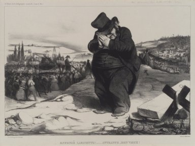 Honoré Daumier (French, 1808-1879). <em>Enfoncé Lafayette!... Attrappe, Mon Vieux!</em>, May 1834. Lithograph on Chine collé paper, Sheet: 12 11/16 x 17 3/8 in. (32.2 x 44.1 cm). Brooklyn Museum, Carll H. de Silver Fund, 39.542 (Photo: Brooklyn Museum, 39.542.jpg)