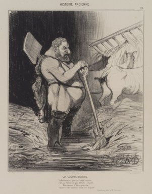 Honoré Daumier (French, 1808-1879). <em>Les  Écuries d'Augias</em>, September 25, 1842. Lithograph on wove paper, Image: 10 3/4 x 8 3/16 in. (27.3 x 20.8 cm). Brooklyn Museum, Carll H. de Silver Fund, 39.543 (Photo: Brooklyn Museum, 39.543.jpg)