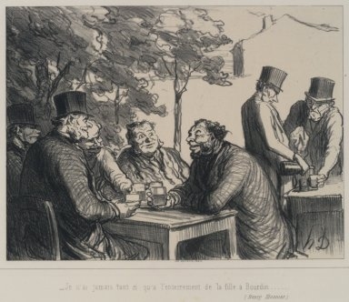 Honoré Daumier (French, 1808-1879). <em>I never laughed so much as at the funeral of Bourdin's daughter...(Je n'ai jamais tant ri qu'à l'enterrement de la fille à Bourdin...)</em>, August 3, 1862. Lithograph on Chine collé paper, Image: 7 13/16 x 10 3/8 in. (19.8 x 26.4 cm). Brooklyn Museum, Carll H. de Silver Fund, 39.546 (Photo: Brooklyn Museum, 39.546.jpg)