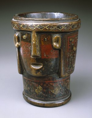 <em>Kero Cup in Shape of Head</em>, 17th-18th century. Wood, pigment inlay, 7 1/2 x 6 3/8 x 5 3/8 in. (19.1 x 16.2 x 13.7 cm). Brooklyn Museum, Museum Collection Fund, 39.563. Creative Commons-BY (Photo: Brooklyn Museum, 39.563_SL1.jpg)